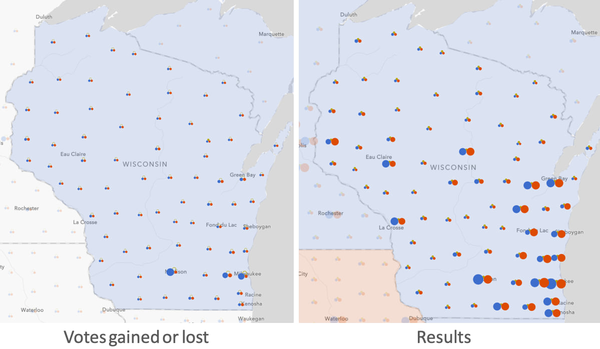 Total votes and shift for each party in Wisconsin.
