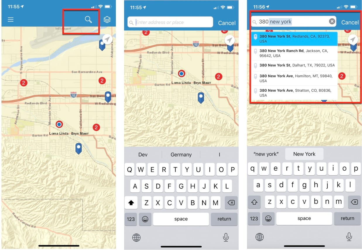 Searching for address in BA Mobile