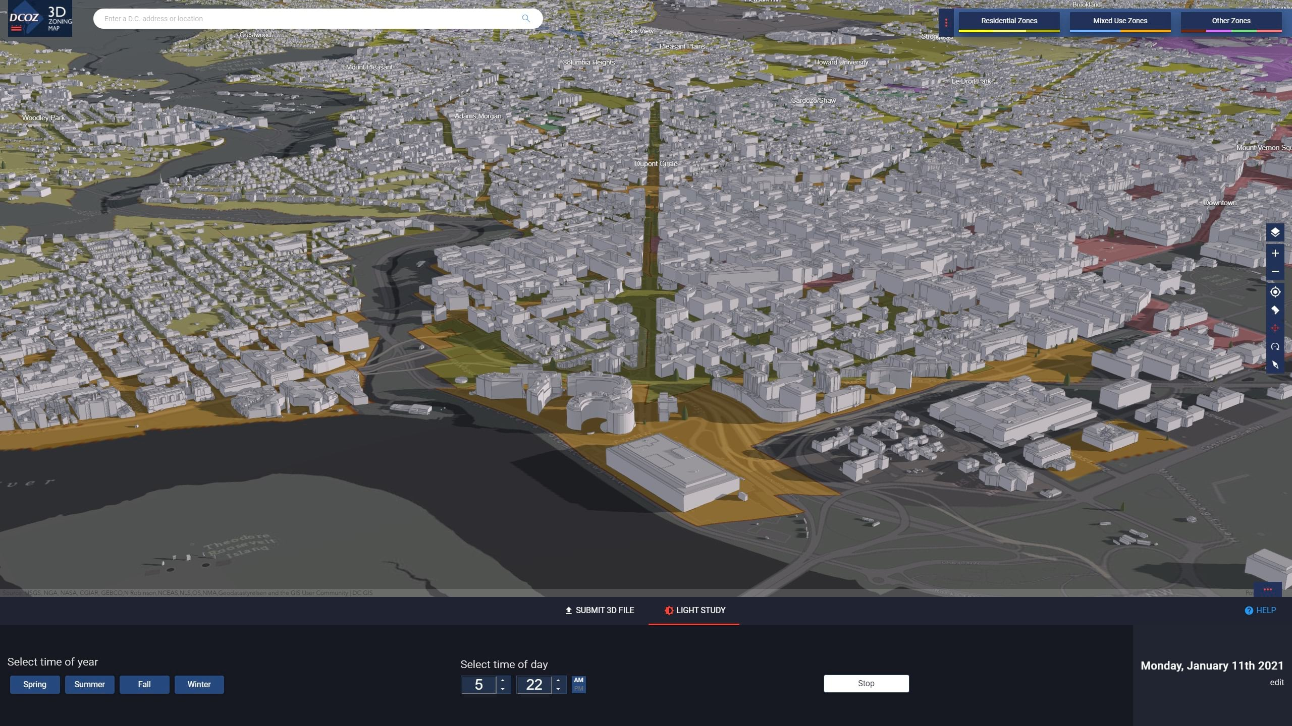 DC COZ 3D zoning tool uses ArcGIS