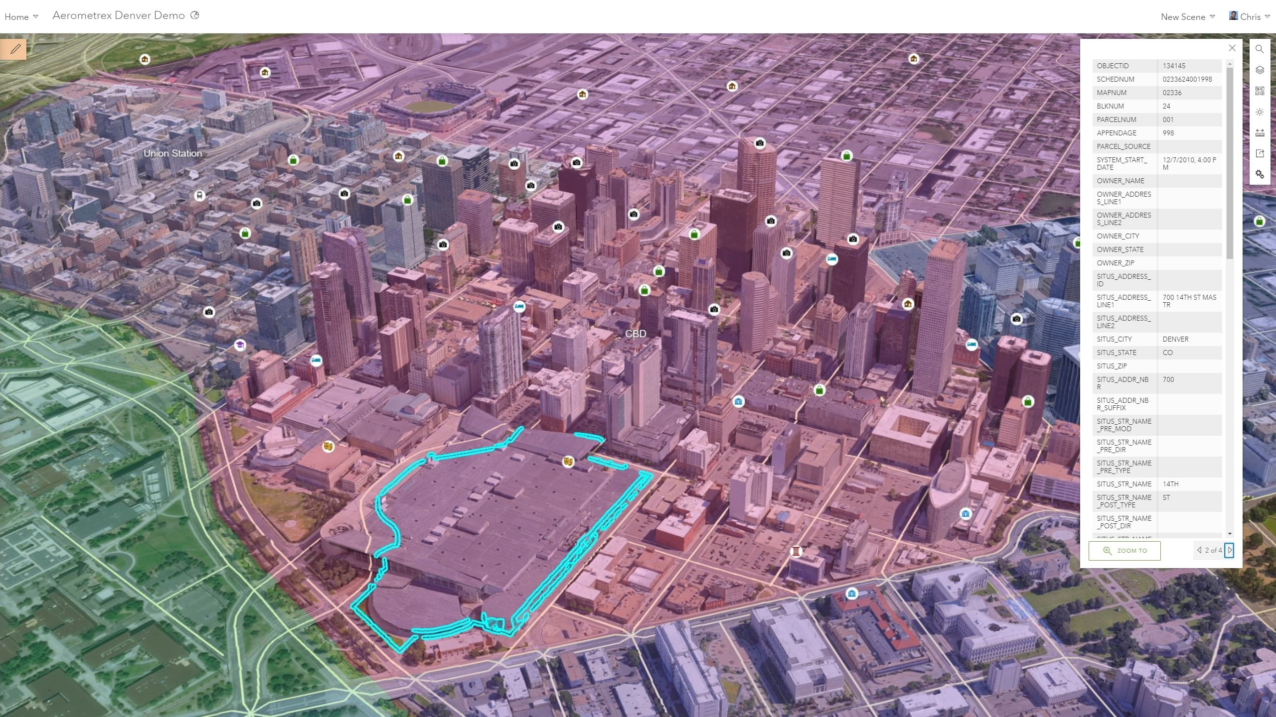 GIS information overlaid on Aerometrex I3S mesh for Denver provides a powerful web dashboard for cities