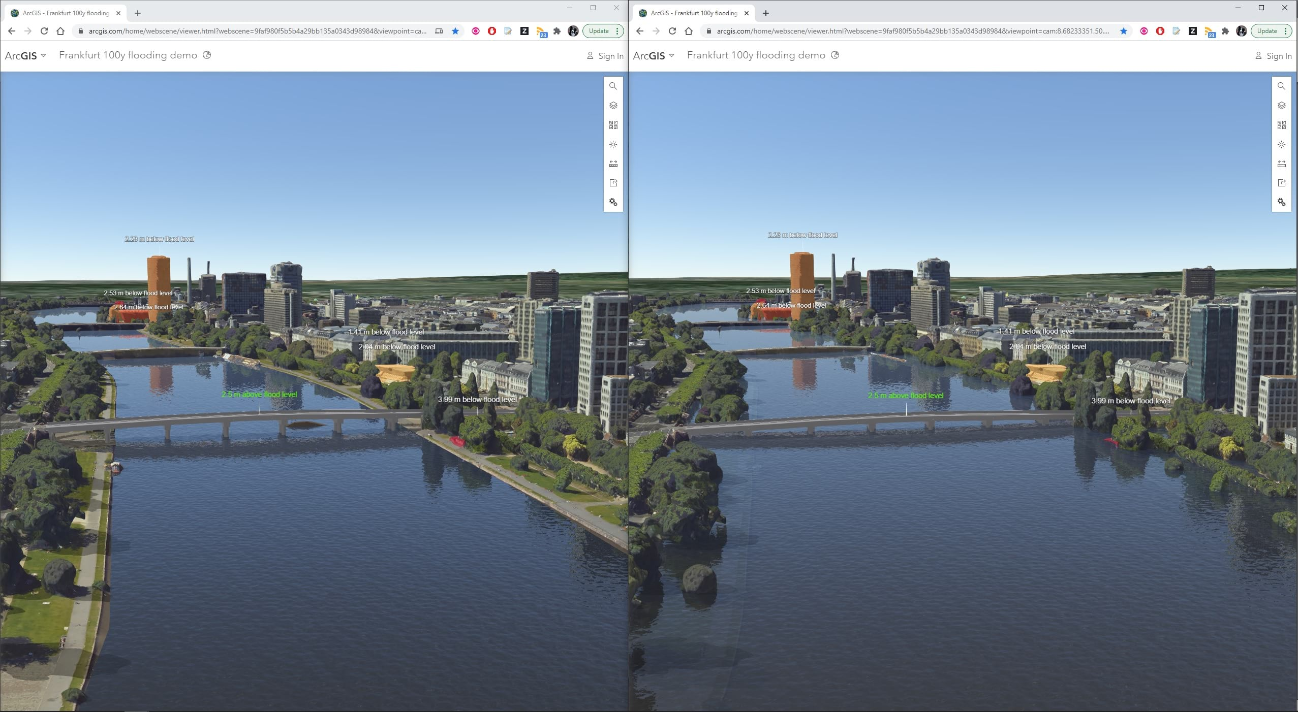 Comparison of normal and 100 year flood conditions using Frankfurt mesh from Aerowest and SURE for ArcGIS