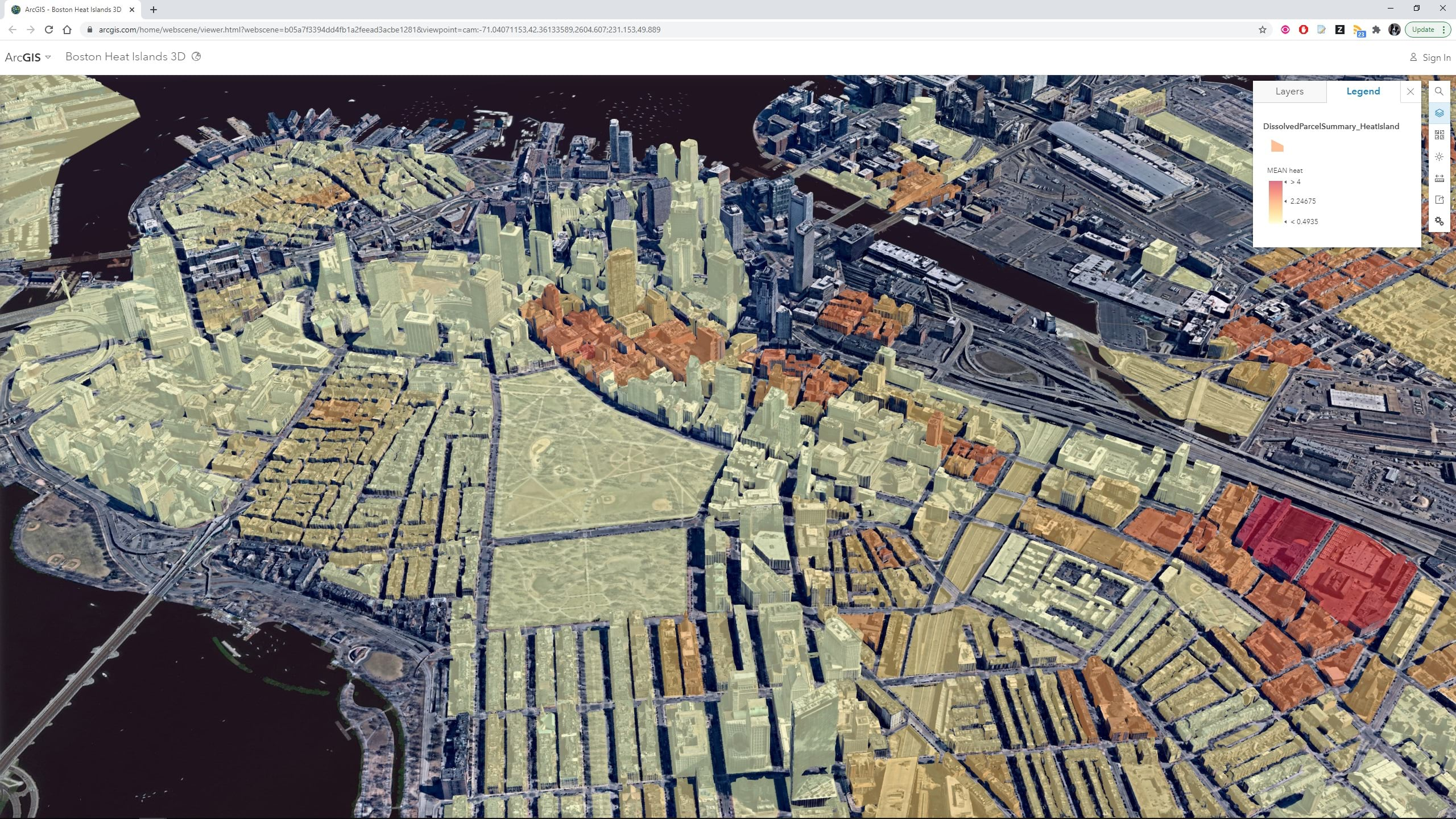 Urban heat analysis in Boston showing Nearmap I3S mesh