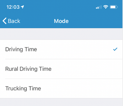 Mode in Drive Time Options