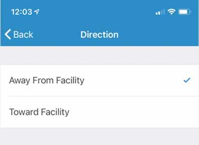 Direction in Drive Time Options