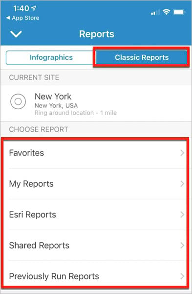 Classic Reports tab in BA Mobile App