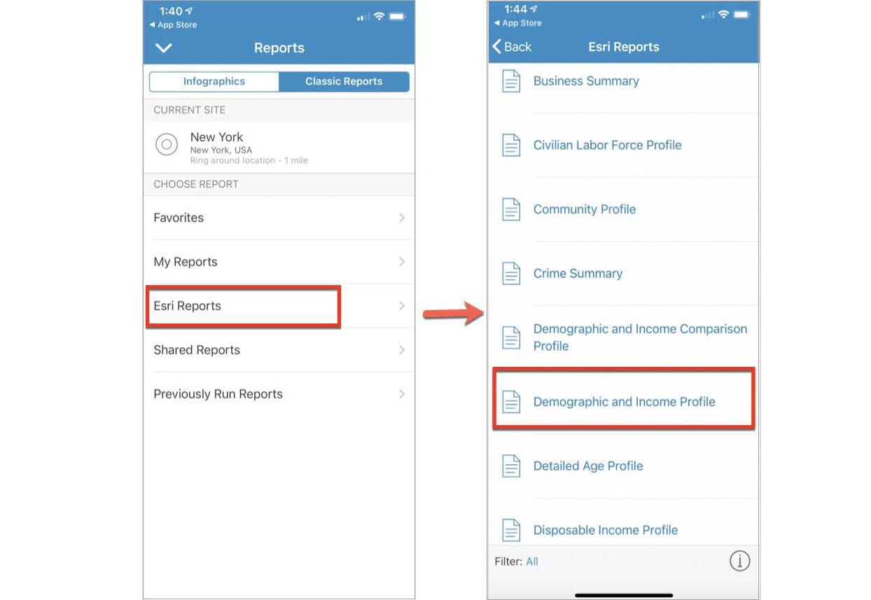 Choosing a report in BA Mobile App
