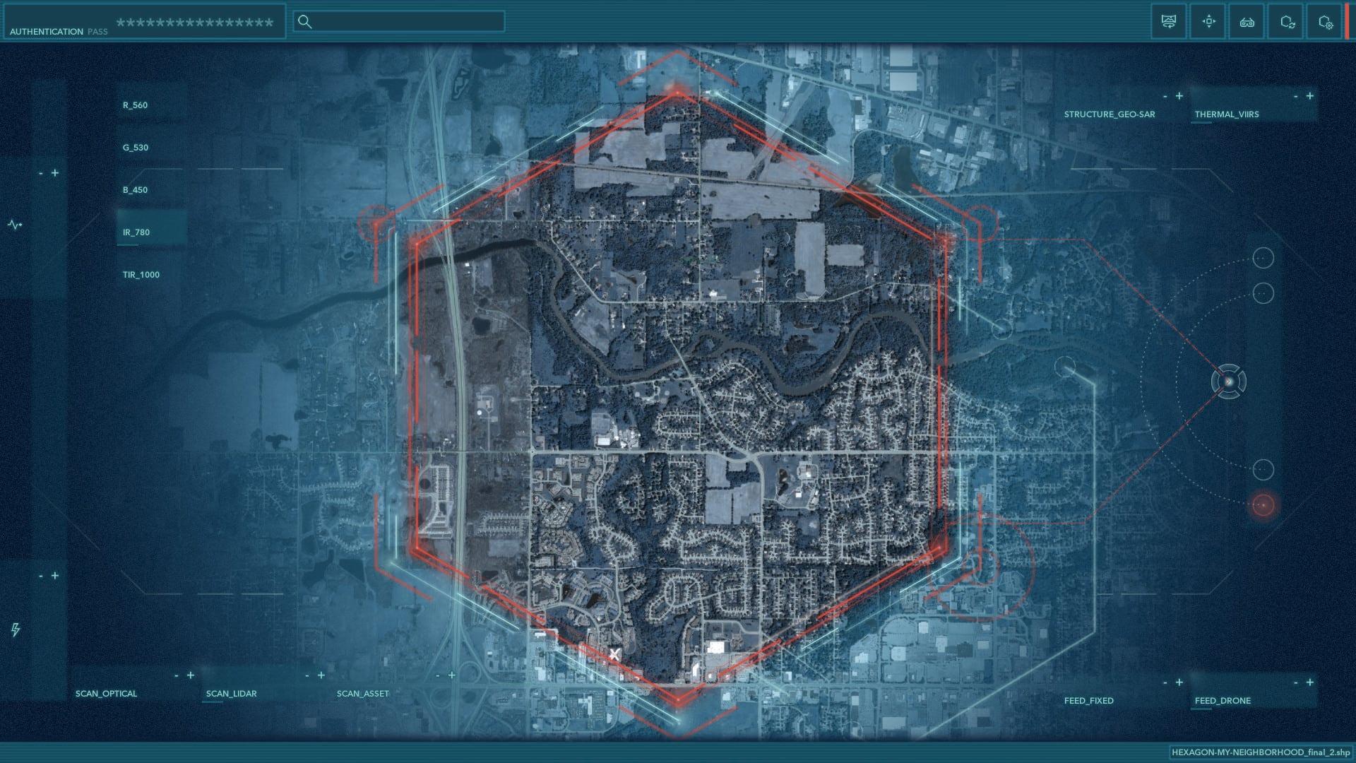 Hexagonal command center style map