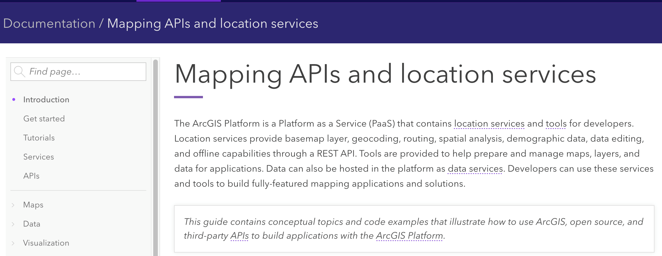 Mapping APIs and location services