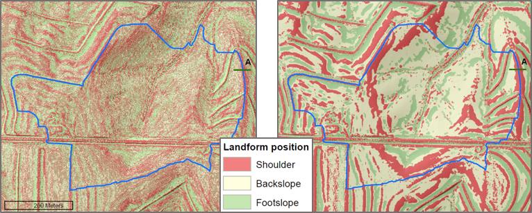 Comparison of landform classification with profile curvature.