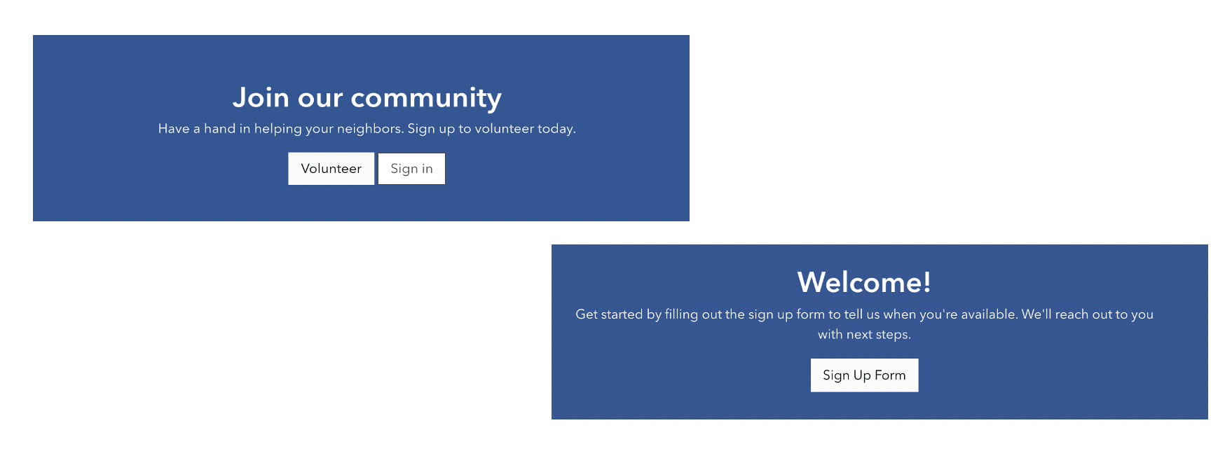 View of Sign Up buttons