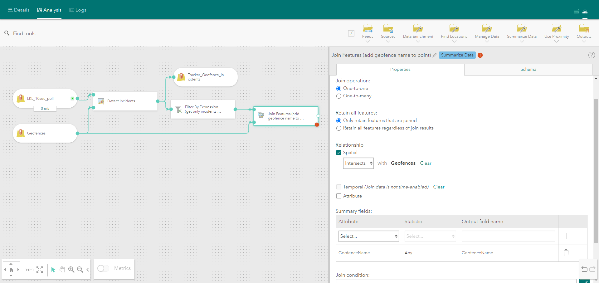 Join Features tool parameters