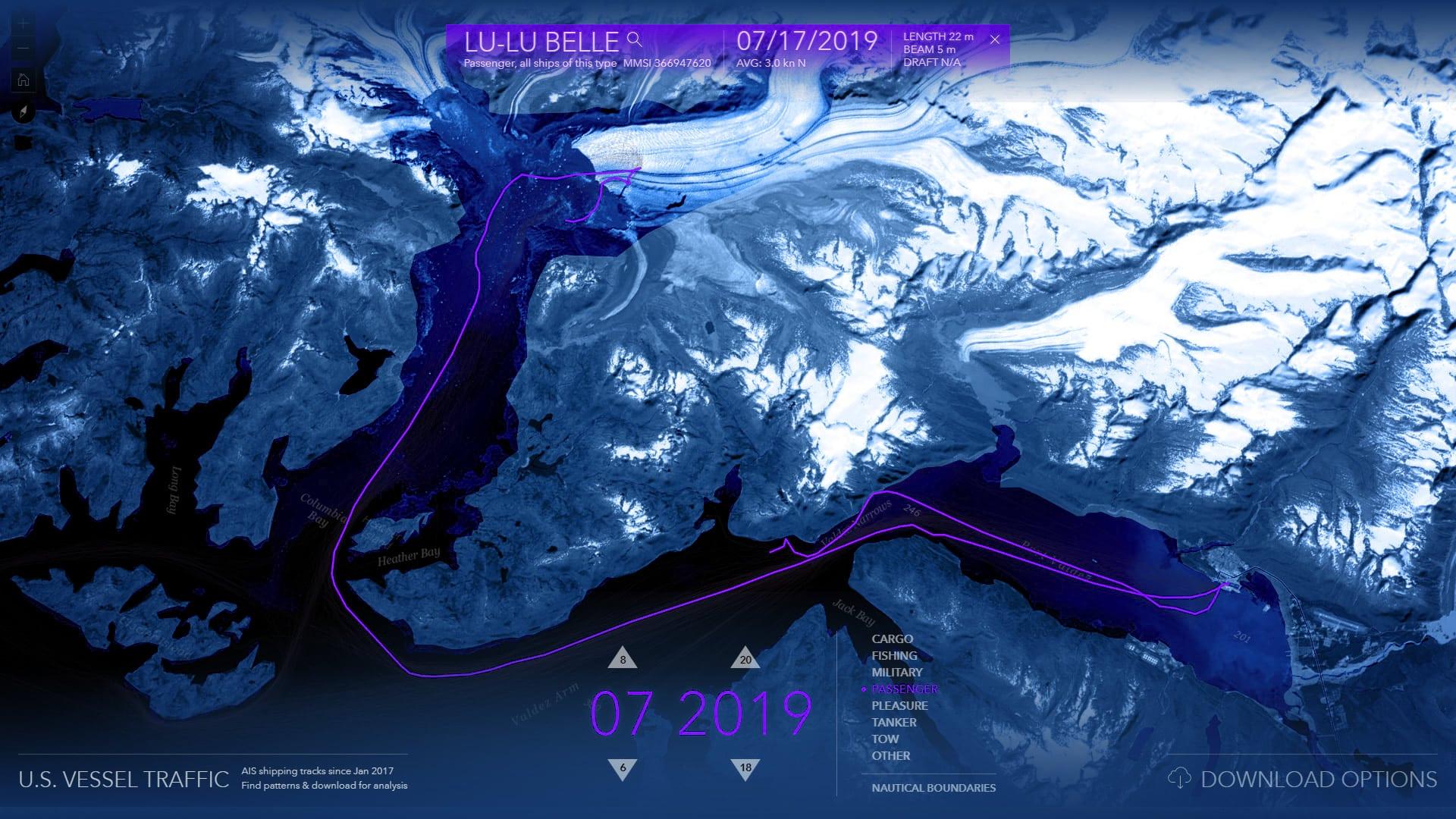 Passenger vessels visiting Columbia Glacier, out of the port of Valdez, Alaska.