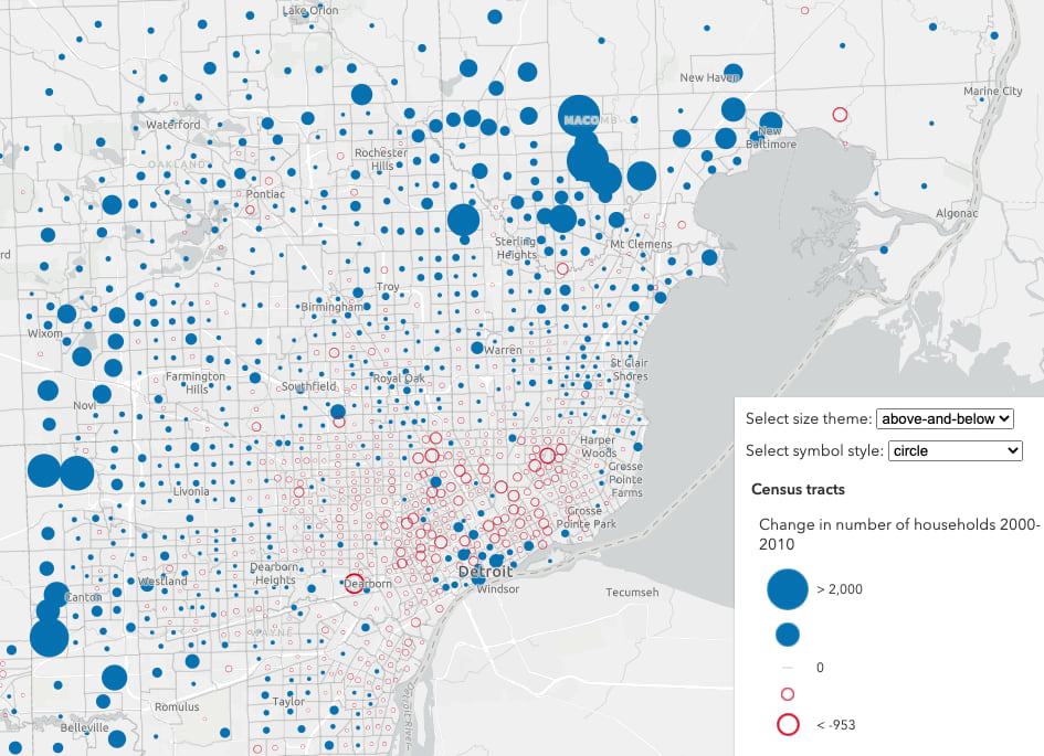 Change in the number of households by Census tract in Detroit. Solid blue circles show areas that had an increase in households; hollow red circles show areas that experienced a decline in the number of households.