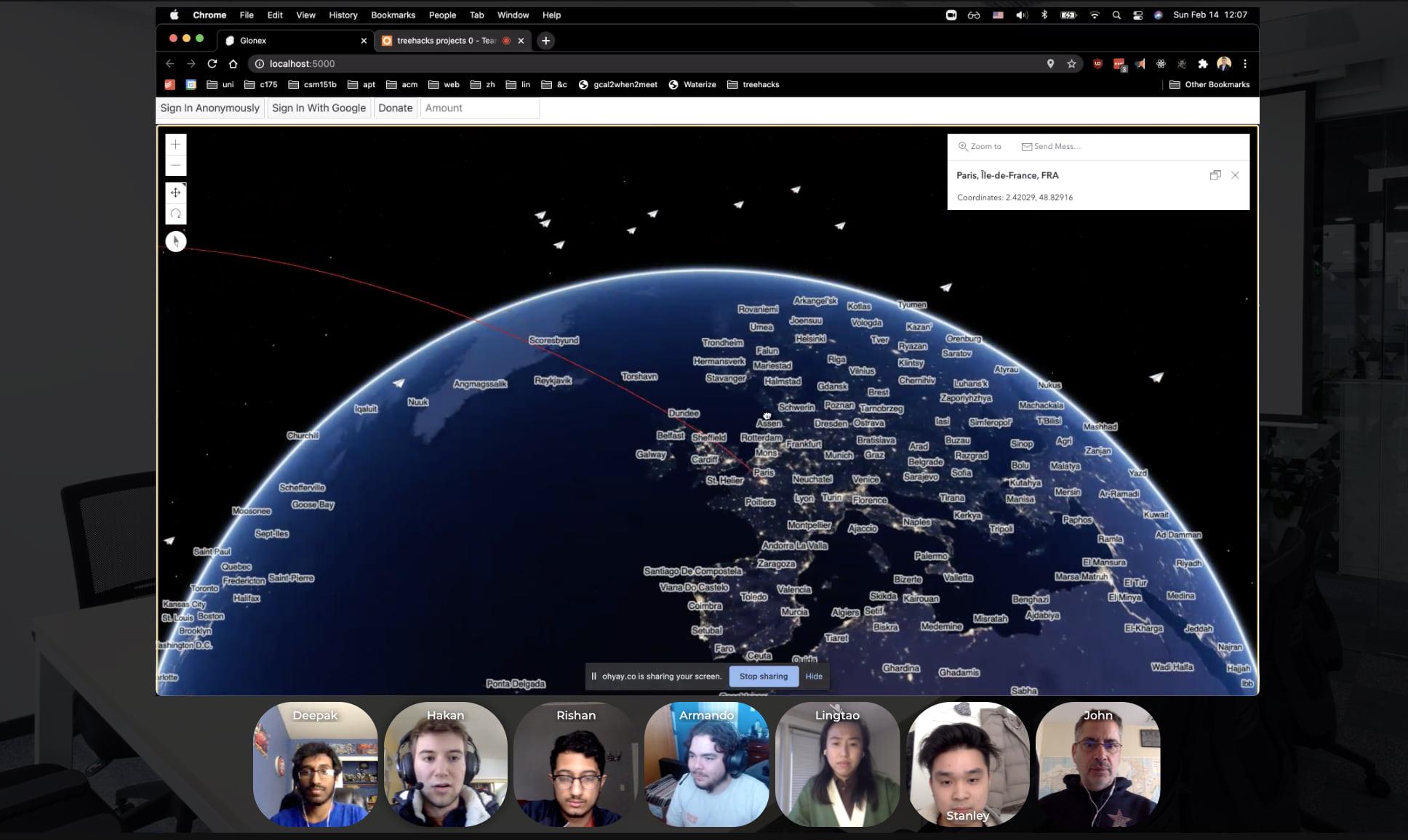 Stanford University Treehacks glonex presentation