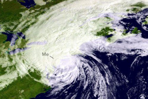 GOES satellite image of Hurricane Gloria