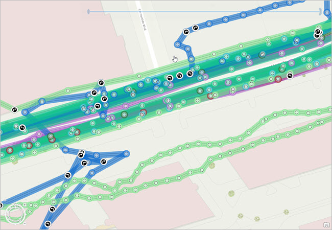 Point track data represented on a map with symbols showing turn events