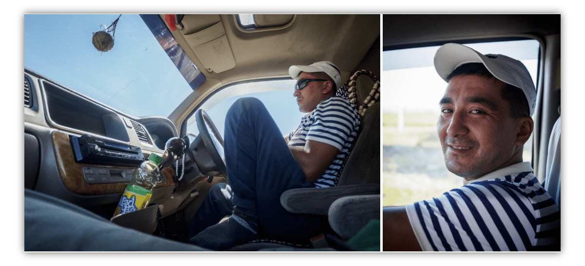 Two side-by-side images of a driver in his car, one from a low angle showing his full body and some of the car interior, the other a close up of his fave