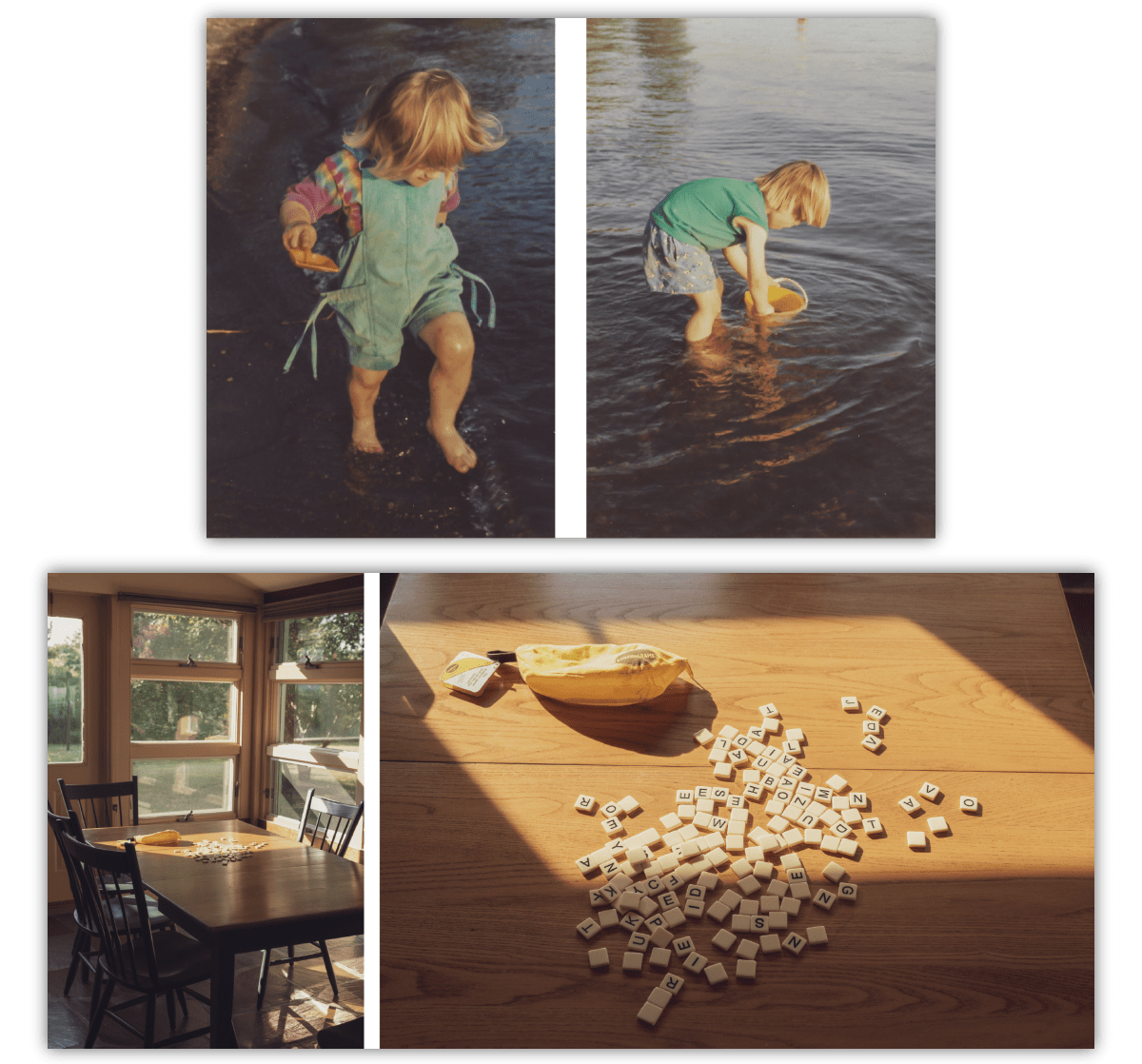 Two sets of photos, the first a pair of film photos of children in a lake, the second a pair of. photos showing a board game on a table