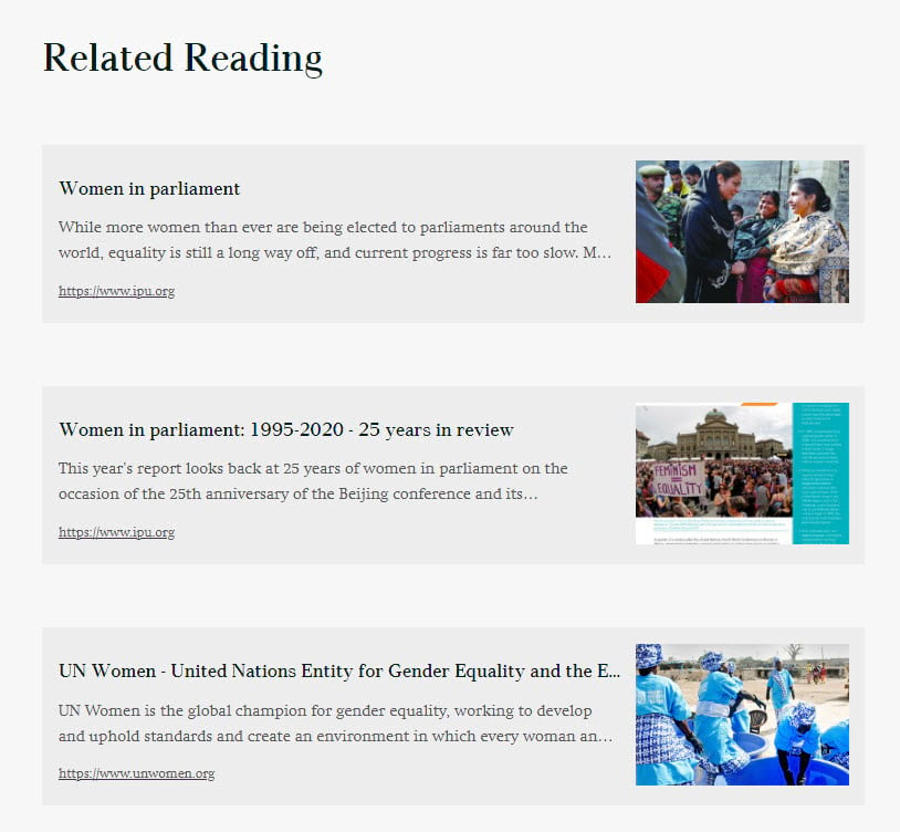 Related Reading heading with three embed cards to Interparliamentary Union, UN Women, and a particular report called 1995-2020 - 25 years in review.