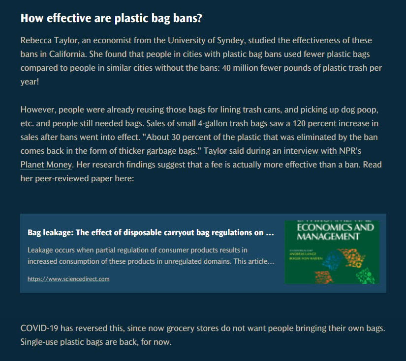"""Two paragraphs all about a particular study. Embed card has a title """"Bag leakage: The effect of disposal carryout bag regulations on ..."""" then a description blurb and link to https://www.sciencedirect.com. Thumbnail is a journal for Economics and Management."""