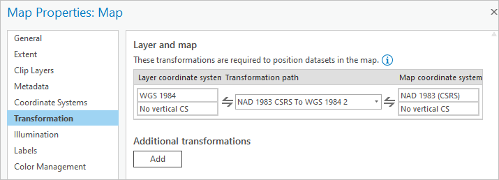Transformations in the Map Properties window
