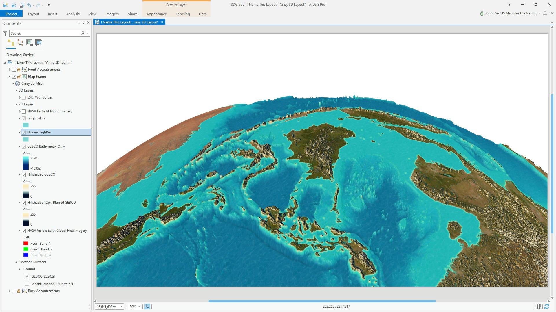 Ocean polygons provide coastal effects.