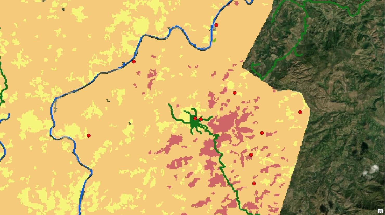 An example of cost raster is shown. Each color represents a different surface type (road, agriculture, and forest).