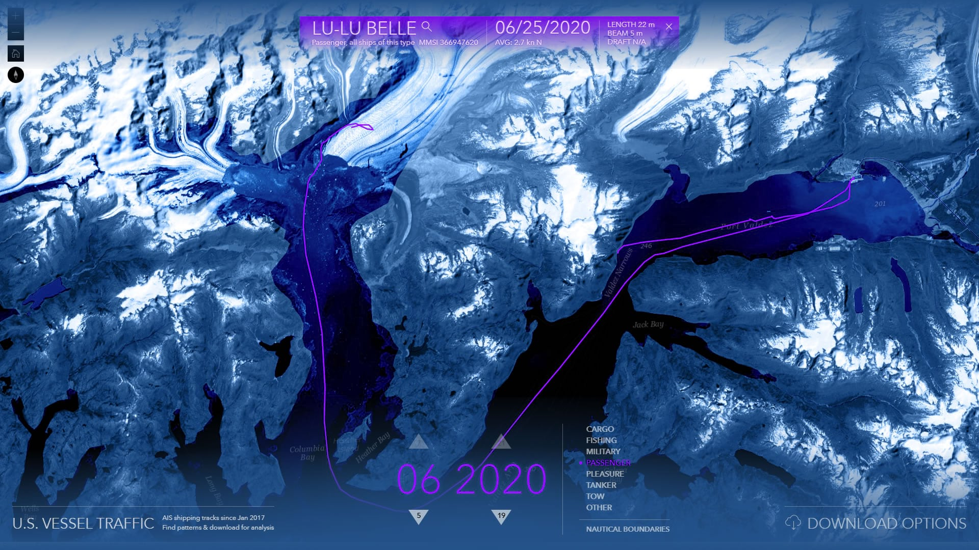 Vessels touring the edge of Portage Glacier in Alaska reveal a changing glacier edge, faster than the underlying basemap imagery can.