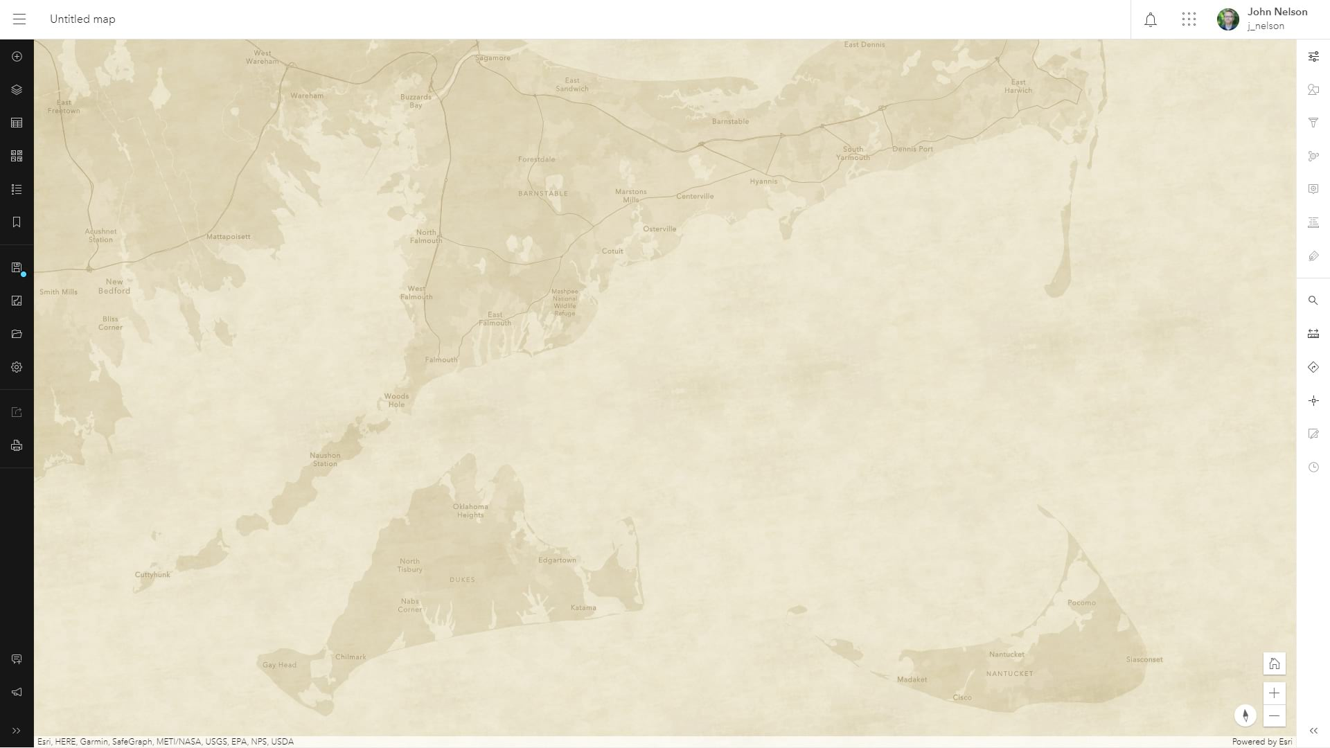 Map with a parchment texture.