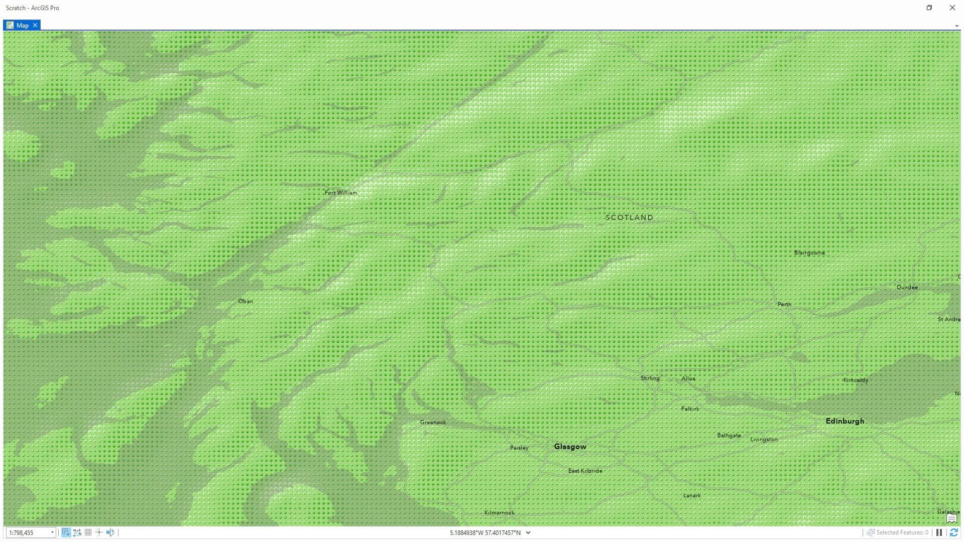 Green pebbled hillshade