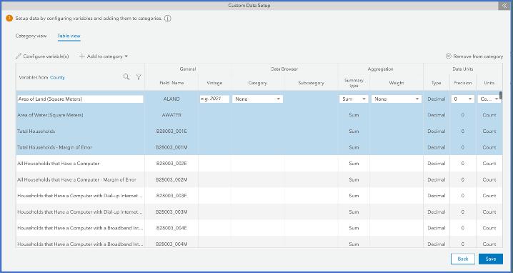 multi select variables in custom data setup