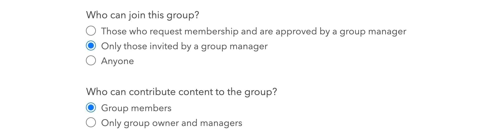 Group settings: contributing and joining