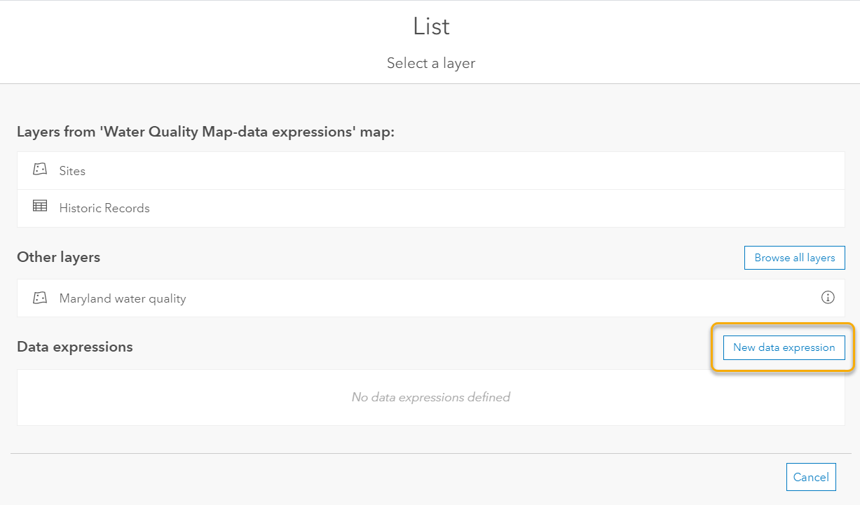 The 'Select a layer' now has a new section for adding and selecting data expressions.