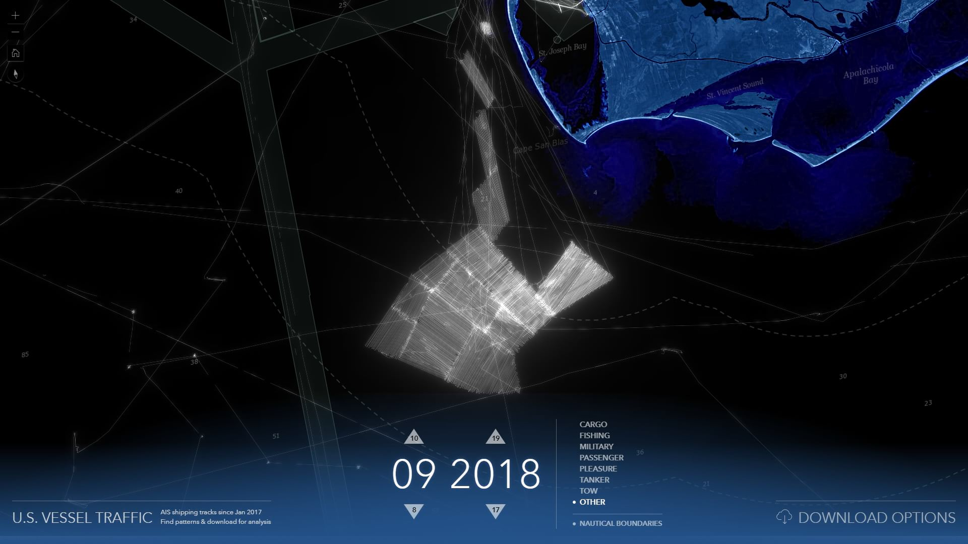 Vessel traffic in a strong grid pattern.