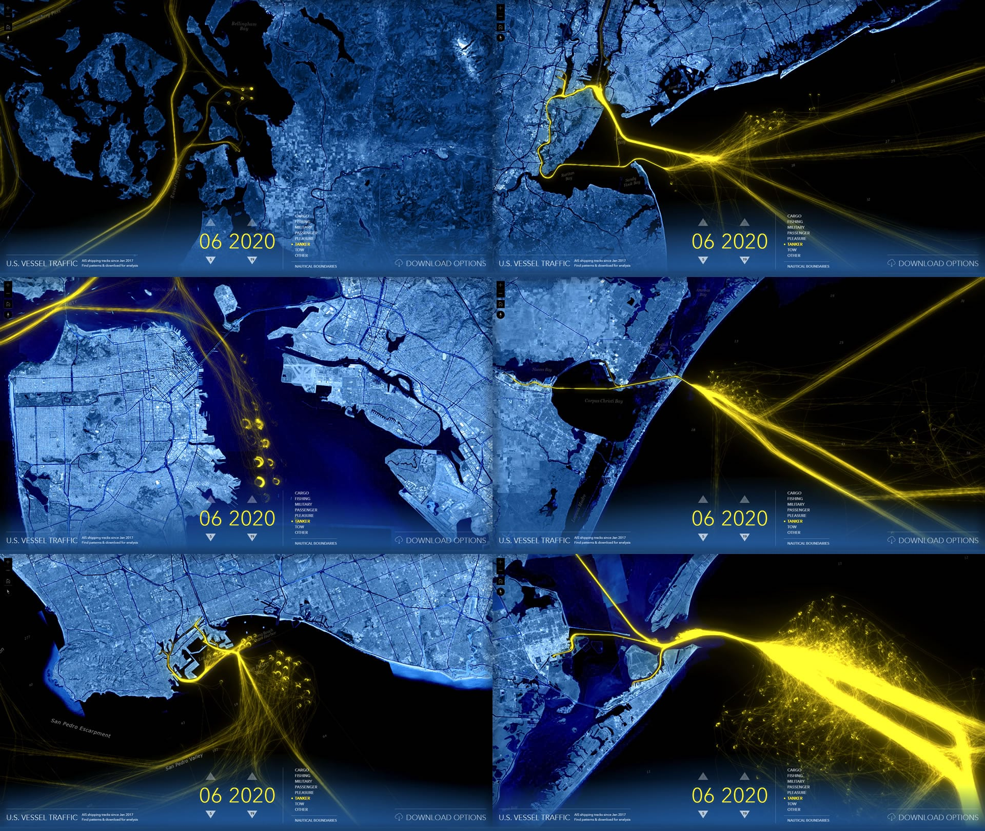 Large ports show grids of circular tanker patterns offshore, where they are anchored awaiting a port berth.