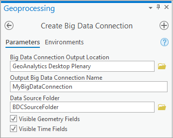 Create Big Data Connection Geoprocessing tool