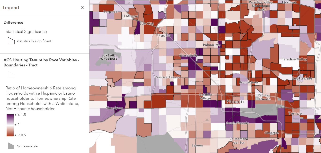 Same homeownership map, this time centered on Phoenix, with some tracts outlined in dark gray. These tracts have a statistically significant difference.