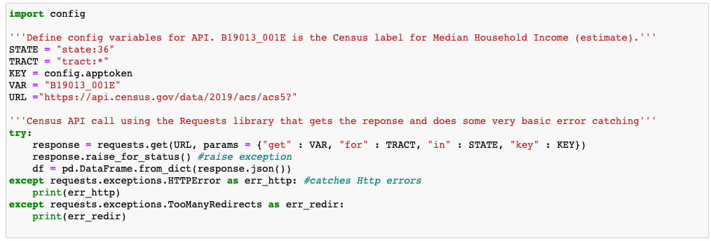 Making a call to the Census API
