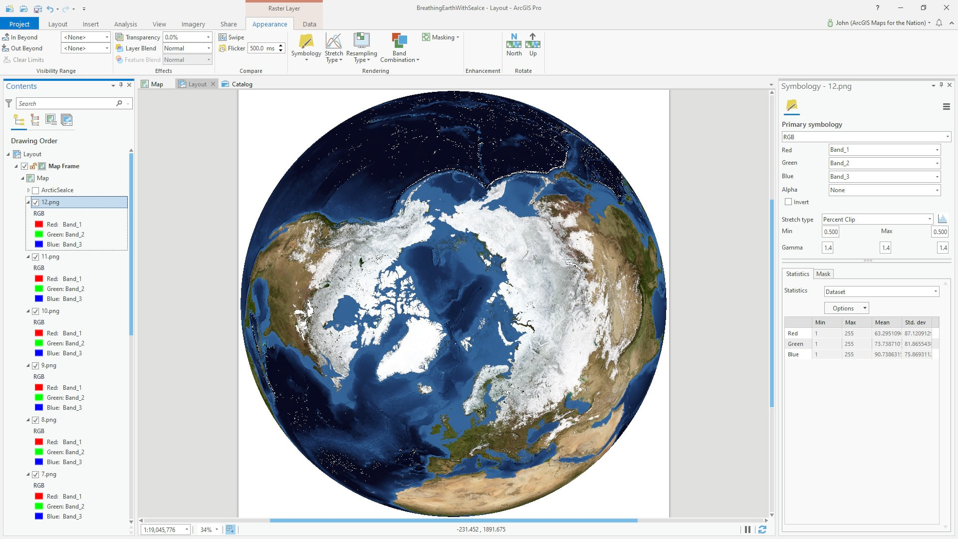 NASA imagery in ArcGIS Pro, with North Pole Orthographic projection