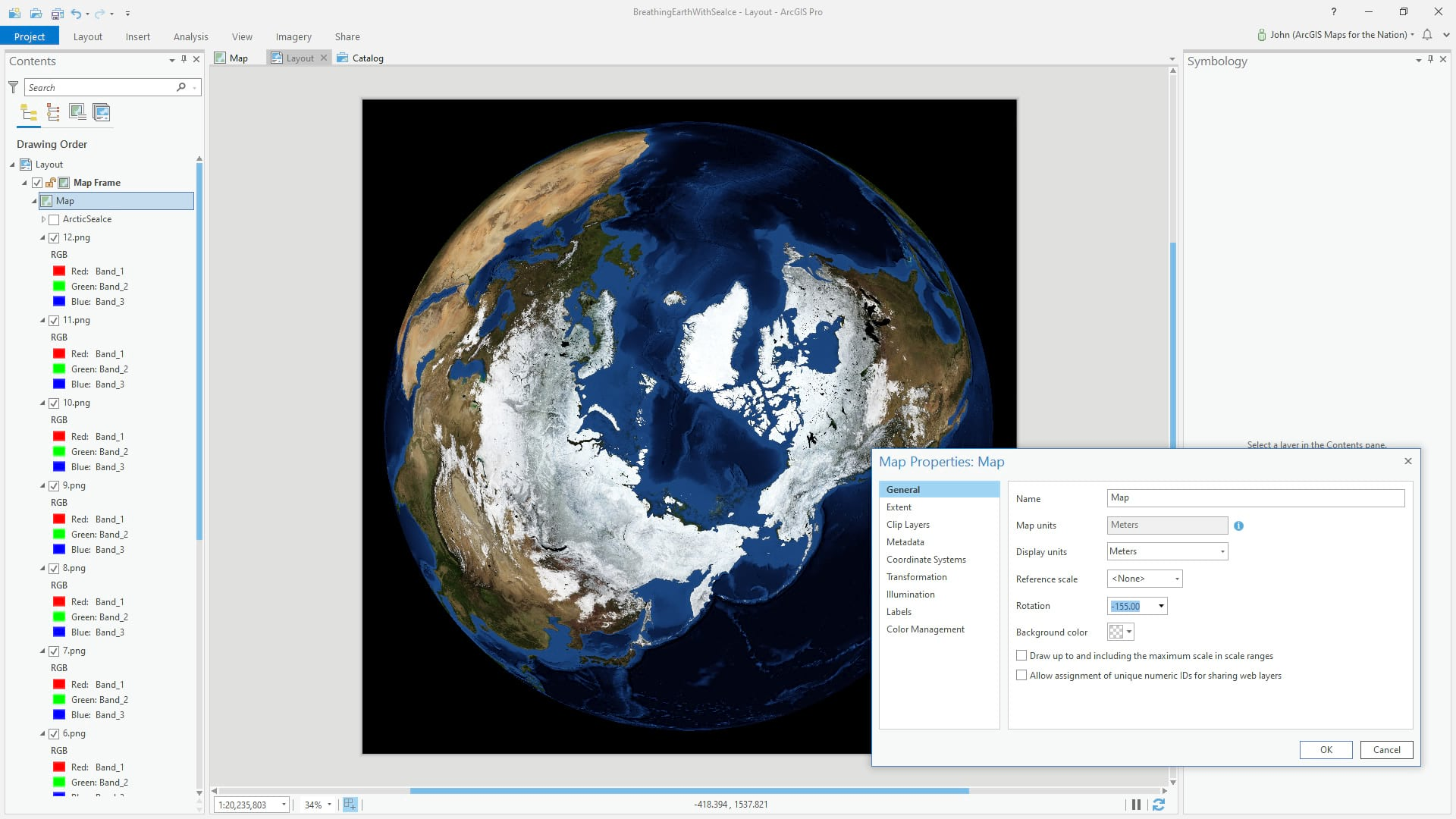 Maps can be easily rotated in an ArcGIS Pro layout