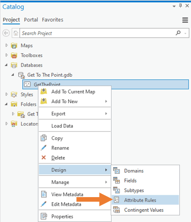 Open the attribute rules view from the Catalog pane by right-clicking the feature class, then Design, then Attribute Rules