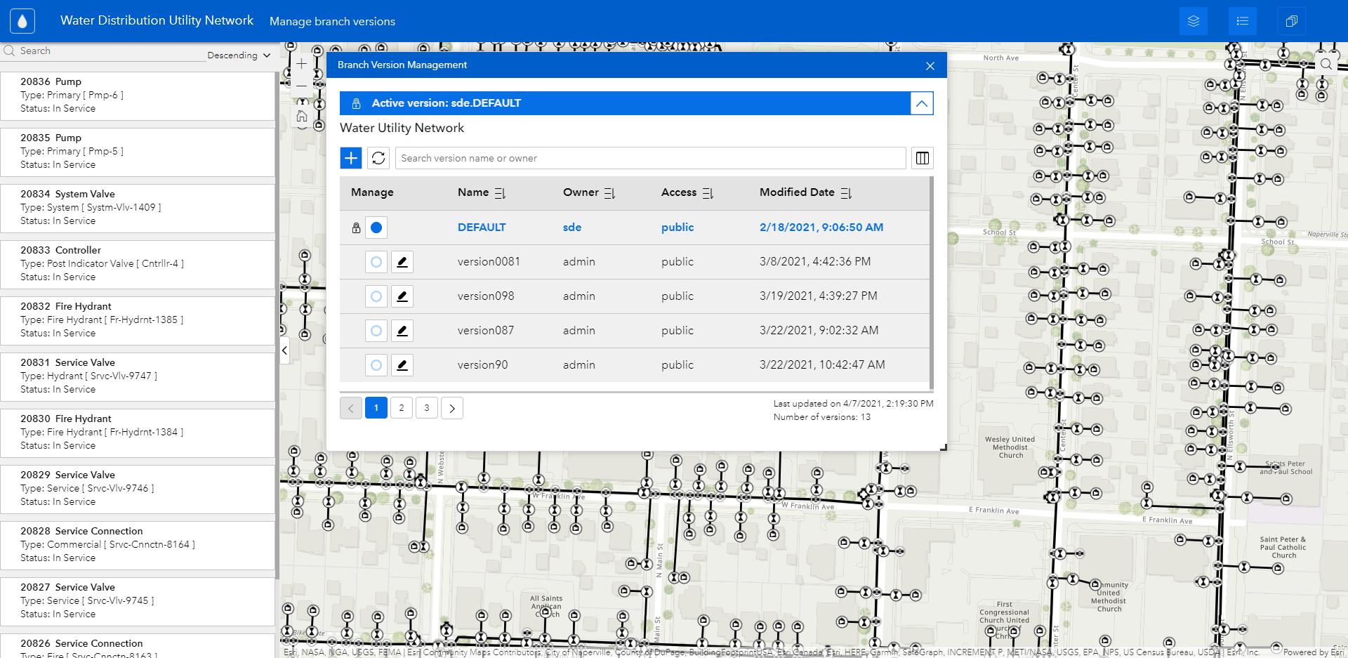 The Branch Version Management widget