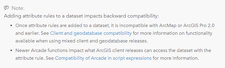 Backward compatibility notice warning users that if they add attribute rules to a dataset in ArcGIS Pro, it will be incompatible with ArcMap or ArcGIS Pro 2.0 and earlier.