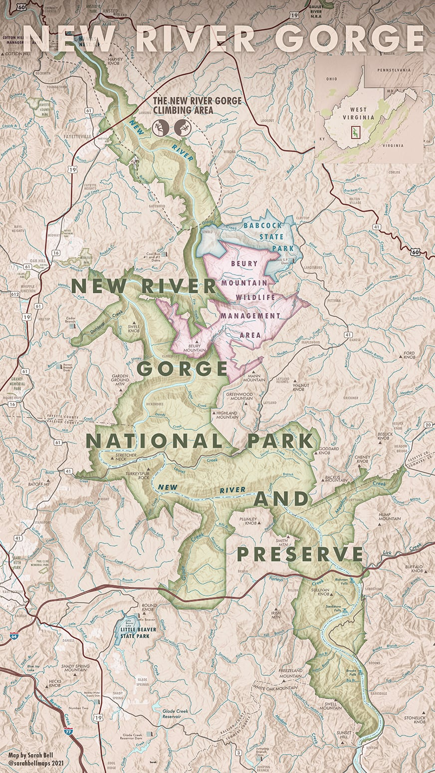 Map of New River Gorge National Park & Preserve