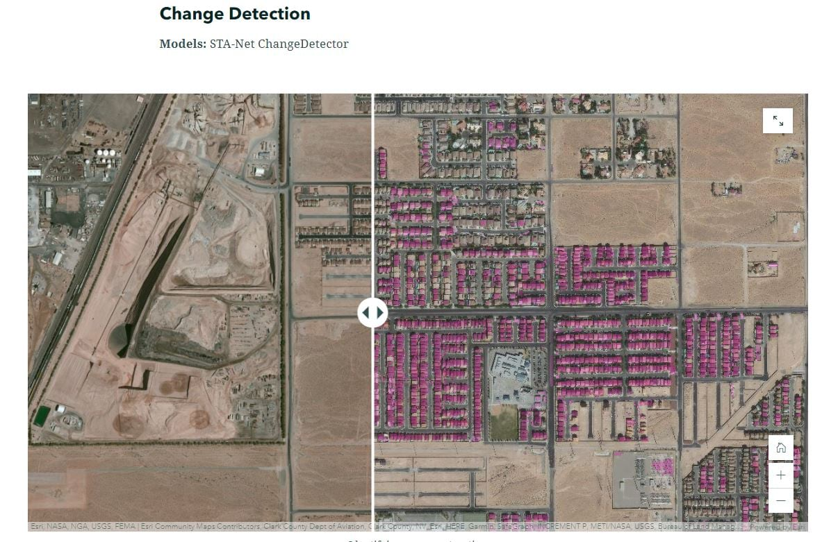 Identifying new construction using the change detector model in arcgis.learn