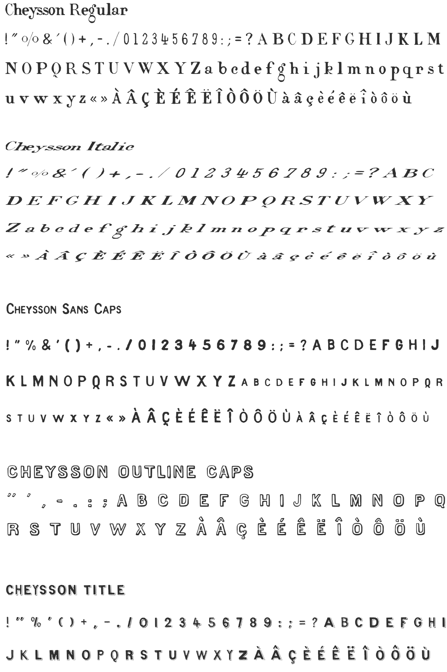 Cheysson inspired and sampled fonts