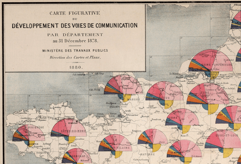 Extract from the 1878 Album de Statistique Graphique illustrating Cheysson's lettering