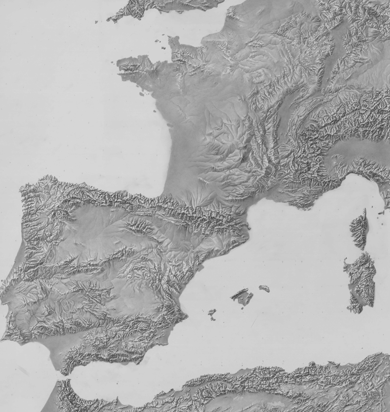 Shaded relief for Southwest Europe by the CIA, courtesy of Tom Patterson's Shaded Relief web site