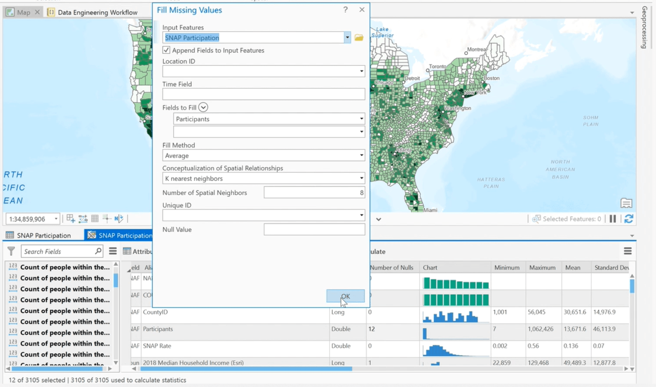 The Fill Missing Values tool was run to replace the missing values with estimated values based on spatial neighbors.