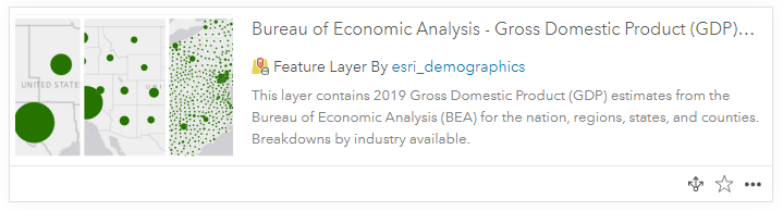 Card of ArcGIS Online item: feature layer of Gross Domestic Product (GDP), 2019